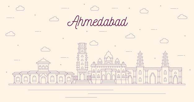 Desenho linear do horizonte de ahmedabad