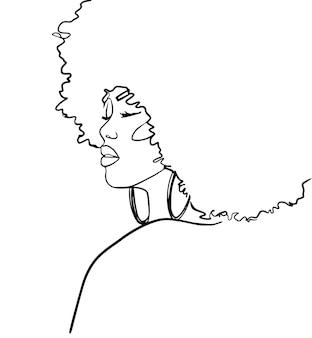 Desenho linear minimalista abstrato. rosto de mulher. - ilustração vetorial