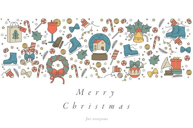 Desenho linear para cartão de felicitações de natal colorido