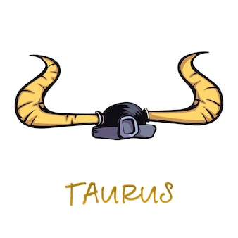 Desenho liso acessório do sinal do zodíaco de touro. capacete de guerreiro antigo com objeto de chifres de touro. características do símbolo astrológico da terra, elemento de armadura viking. item desenhado à mão isolado