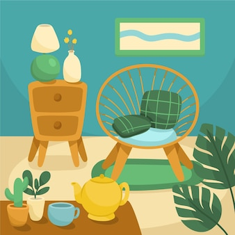Desenho lugar aconchegante dentro de casa