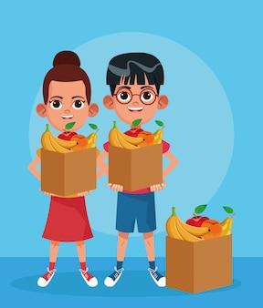 Desenho menino e menina com caixas com frutas sobre azul