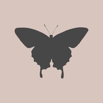 Desenho mínimo de tatuagem de borboleta preta