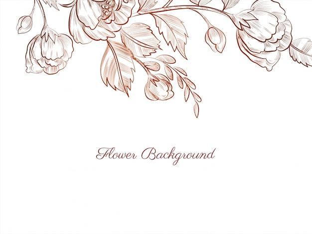 Desenho moderno e elegante de flores desenhadas à mão