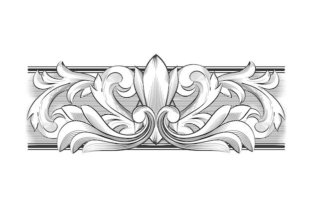 Desenho monocromático com borda ornamental