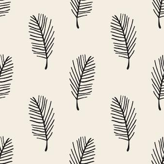 Desenho monocromático sem costura padrão padrão de folha de fundo