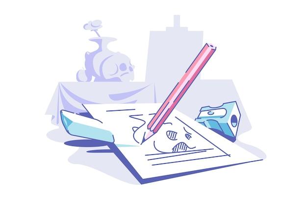 Desenho na ilustração vetorial de papel. pedaço de lápis de borracha e apontador de estilo plano. conceito de arte e processo criativo. isolado