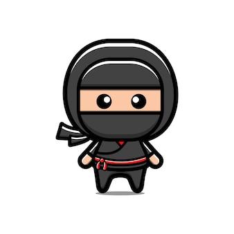 Desenho ninja fofo Vetor Premium