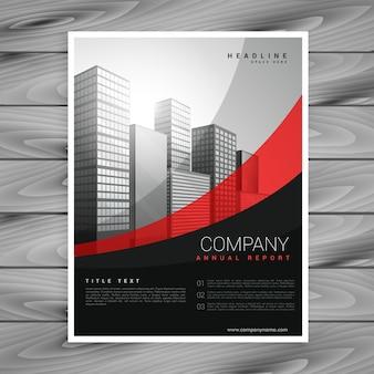 Desenho ondulado de folhetos da empresa vermelho e preto