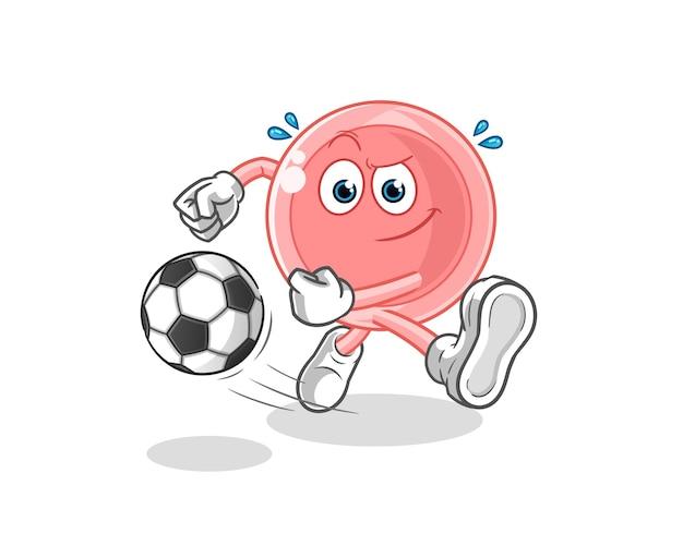 Desenho ovum chutando a bola