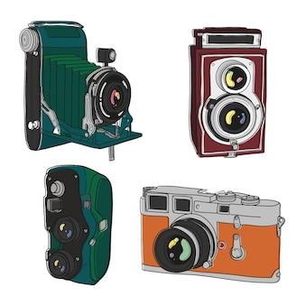 Desenho pacote câmeras do vintage