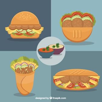 Desenho pacote de menus árabe