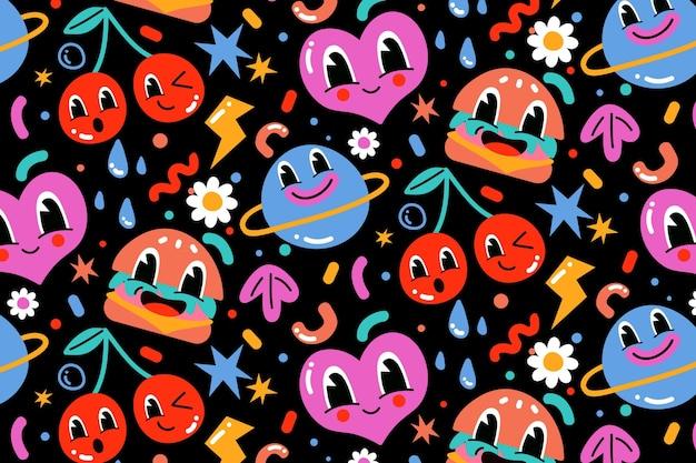 Desenho padrão colorido de desenho animado à mão