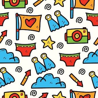 Desenho padrão de desenho animado de verão kawaii desenhado à mão