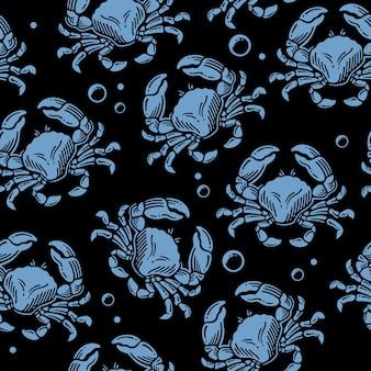 Desenho padrão de doodle de caranguejos com bolhas