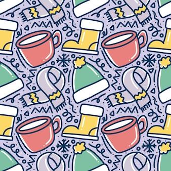 Desenho padrão de doodle de inverno com ícones e elementos de design