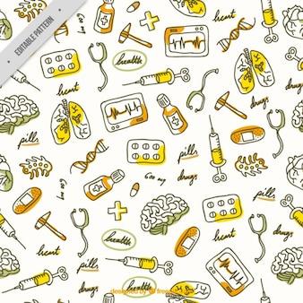 Desenho padrão de elementos médicos