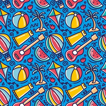 Desenho padrão doodle de conjunto jogando verão na praia com ícones e elementos de design