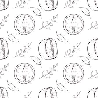 Desenho padrão preto e branco sem costura com tangerinas