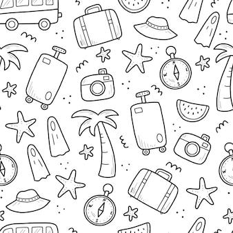 Desenho padrão sem emenda de elementos de viagens de férias de verão