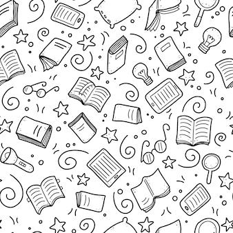 Desenho padrão sem emenda de elementos livro doodle, conceito de educação.