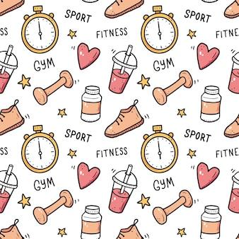 Desenho padrão sem emenda de equipamentos de ginástica fitness doodle sketch style elemento de esporte desenhado por pincel digital ilustração para o fundo do quadro do ícone