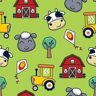 Desenho padrão uniforme de conjunto de temas de fazenda