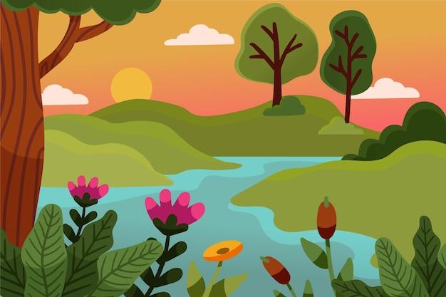 Desenho paisagem de primavera