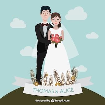 Desenho par bonito do casamento
