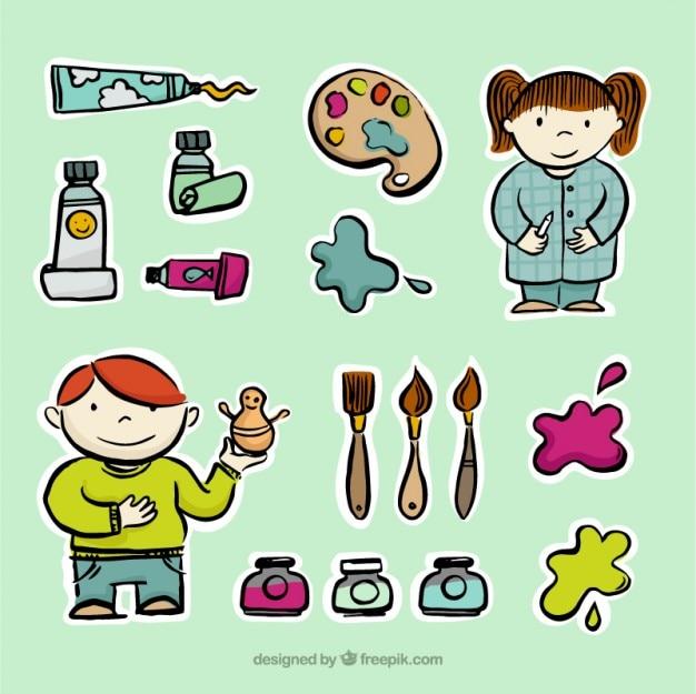 Desenho pequenos artistas com ferramentas de pintura