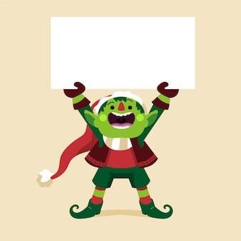 Desenho personagem plana de natal segurando uma faixa em branco