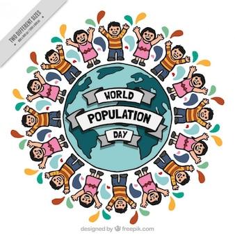 Desenho pessoas agradáveis em torno do fundo do mundo