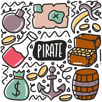 Desenho pirata desenhado à mão com ícones e elementos de design