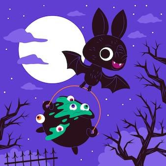 Desenho plano bastão de halloween voando