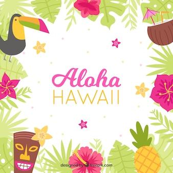 Desenho plano colorido havaí aloha fundo