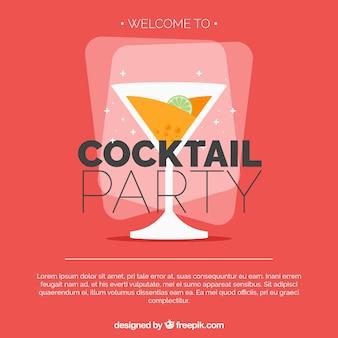 Desenho plano de festa cocktail