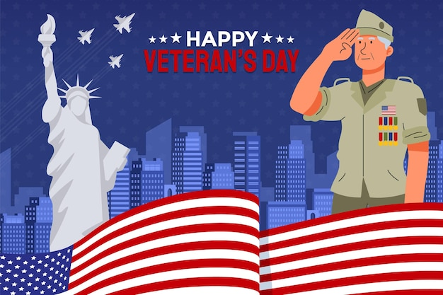 Desenho plano de fundo do dia do veterano à mão