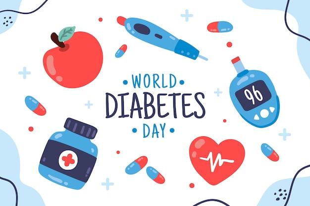 Desenho plano de fundo do dia mundial da diabetes