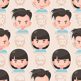 Desenho plano de personagem de menino e menina padrão sem emenda