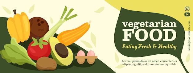 Desenho plano desenhado à mão comida vegetariana capa do facebook