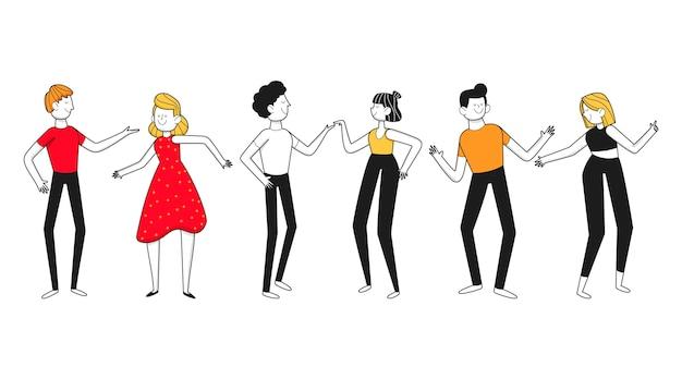 Desenho plano desenhado à mão de pessoas a dançar