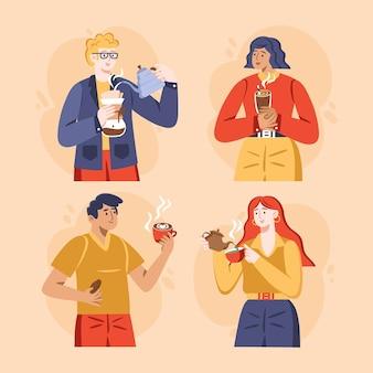 Desenho plano desenhado à mão de pessoas com bebidas quentes