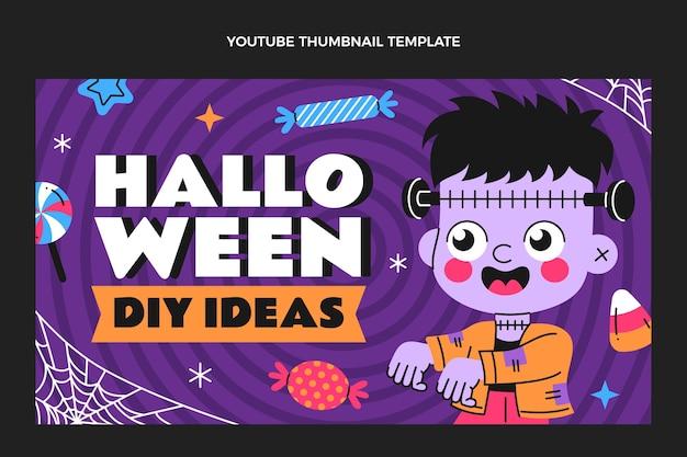 Desenho plano desenhado à mão em miniatura do youtube de halloween