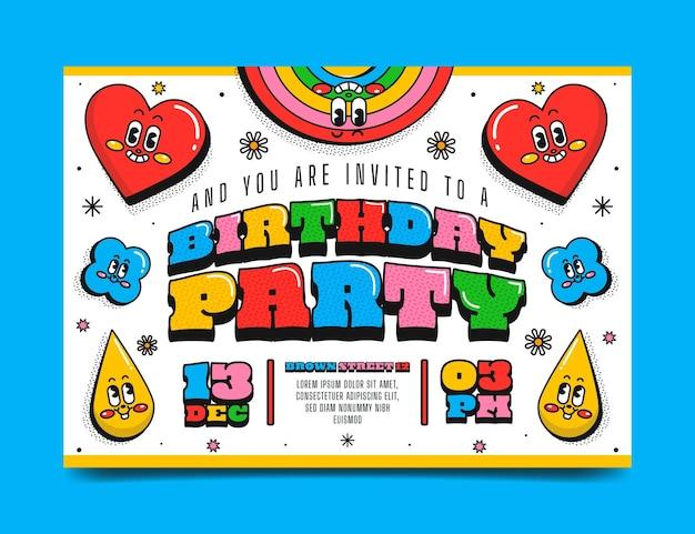 Desenho plano desenhado à mão na moda dos desenhos animados, convite de aniversário