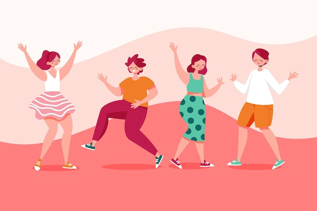 Desenho plano desenhado à mão pessoas dançando