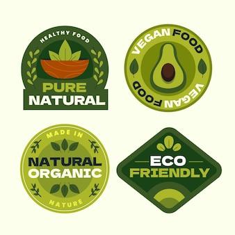 Desenho plano, emblemas e etiquetas de comida vegetariana
