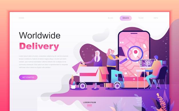 Desenho plano moderno de entrega em todo o mundo
