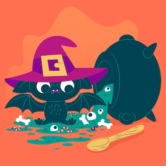 Desenho plano morcego de halloween com chapéu