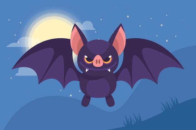 Desenho plano morcego halloween