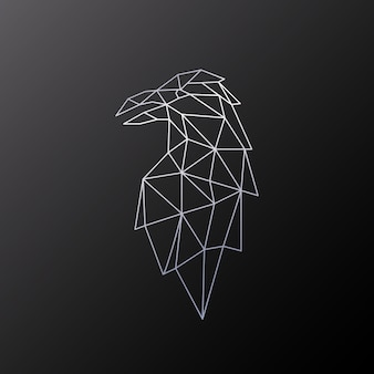Desenho poligonal do pássaro raven